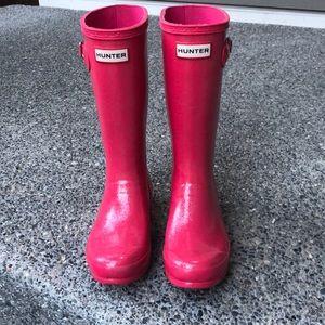 Hunter girls size 4 glitter sparkle pink boots